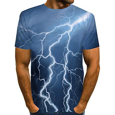 זול טישרטים לגופיות לגברים-בגדי ריקוד גברים טישרט מופשט גראפי דפוס צמרות בסיסי מוּגזָם צווארון עגול כחול כהה / שרוולים קצרים