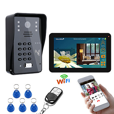 cheap Access Control-9 Inch Wired / Wireless Wifi RFID Password Video Door Phone Doorbell Intercom Entry System With IR-CUT 1000TVL Wired Camera Night VisionSupport Remote APP UnlockingRecordingSnapshot