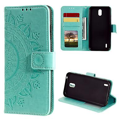 Недорогие Чехлы и кейсы для Nokia-Кейс для Назначение Nokia Nokia 7 Plus / Nokia 1 / Nokia 1.3 Бумажник для карт / Флип / С узором Чехол Цветы Кожа PU / ТПУ