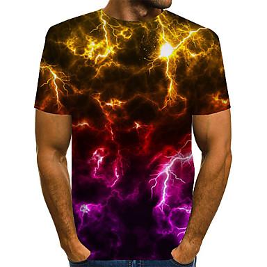 baratos Camisetas & Regatas Masculinas-Homens Camiseta Abstrato Gráfico Estampado Manga Curta Blusas Básico Exagerado Decote Redondo Arco-íris