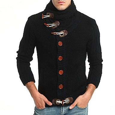 tanie Męskie swetry i swetry rozpinane-Męskie Solidne kolory Sweter rozpinany Długi rękaw Swetry rozpinane Golf Czarny Żółtobrązowy Ciemnoszary