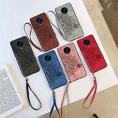 Недорогие Чехлы и кейсы для Xiaomi-Кейс для Назначение Xiaomi Xiaomi Pocophone F1 / Redmi K30 / Redmi K30Pro Бумажник для карт / Рельефный Кейс на заднюю панель Однотонный ТПУ / ПК / Металл
