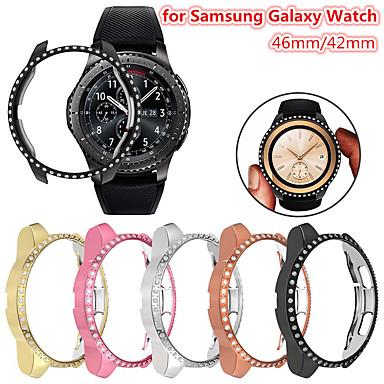 Недорогие Аксессуары для смарт-часов-bling diamonds корпус для часов Samsung Galaxy 46мм 42мм блестящая крышка хрустальный бампер покрынный ПК жесткий защитный каркас