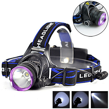 cheap Headlamps-Headlamps Waterproof Rechargeable 1800 lm LED LED 1 Emitters 3 Mode with Batteries and Chargers Waterproof Rechargeable Camping / Hiking / Caving Everyday Use Cycling / Bike