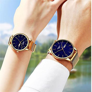 voordelige Dameshorloges-Unisex Stalen Horloge Kwarts Moderne Style Stijlvol Informeel Waterbestendig Roestvrij staal Analoog - Zwart Goud Zilver / Kalender