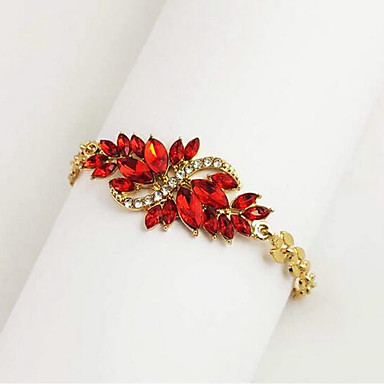 cheap Bracelets-Women's AAA Cubic Zirconia Chain Bracelet Hollow Out Leaf Drop Stylish Classic Alloy Bracelet Jewelry Black / Red For Festival