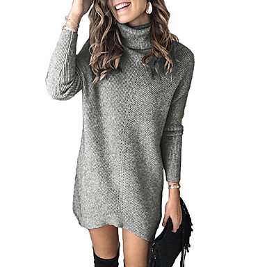 cheap Women's Tops-Women's Solid Colored Pullover Long Sleeve Sweater Cardigans Turtleneck Khaki Gray