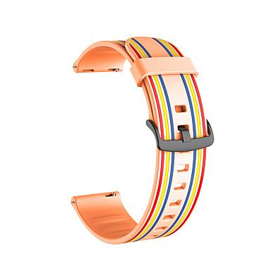 Недорогие Ремешки для часов Huawei-20мм 22мм силиконовый спортивный ремешок в полоску резиновая замена ремешок для часов Huawei GT2 42mm / 46mm / honor magicwatch 2 42mm / 46mm / watch2 / watch2 pro