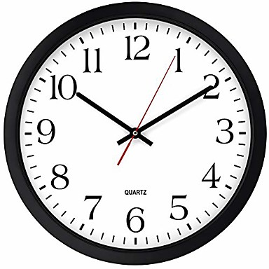 levne Zařízení domácnosti-černé nástěnné hodiny, tiché nekřikující kvalitní křemenné baterie ovládané kolem, snadno čitelné domácí / kancelářské / obchodní / kuchyňské hodiny