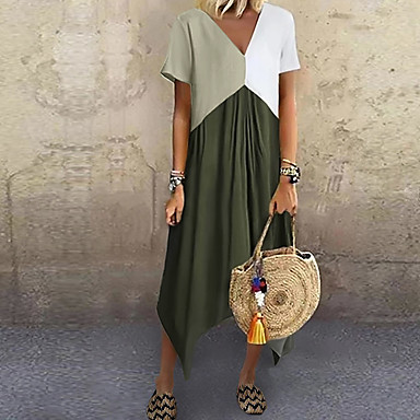cheap Maxi Dresses-Women's A-Line Dress Midi Dress - Short Sleeve Color Block Color Block Spring & Summer V Neck Stylish Casual Vacation 2020 Red Green Gray Light Blue S M L XL XXL XXXL XXXXL XXXXXL