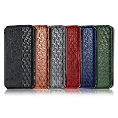 Недорогие Чехол Samsung-Кейс для Назначение SSamsung Galaxy S9 / S9 Plus / Galaxy S10 Кошелек / Бумажник для карт / со стендом Чехол Однотонный / Геометрический рисунок Кожа PU