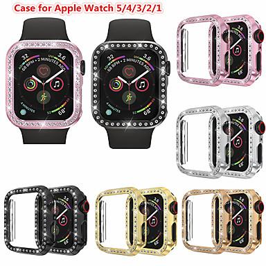 olcso Smartwatch tokok-bling gyémánt karóra Apple Watch sorozathoz 5/4/3/2/1 fényes burkolatú kristály lökhárító pc bevonatú kemény védőkeret