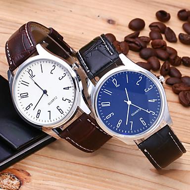 Недорогие Часы на кожаном ремешке-Муж. Нарядные часы Кварцевый Стильные На каждый день время по Гринвичу Аналоговый Белый Синий Черный / Белый / Один год / Кожа