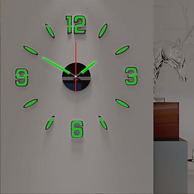 hesapli Ev Dekorasyonu-Duvar saati gece aydınlık diy akrilik yuvarlak klasik tema kapalı aa piller powered dekorasyon duvar saati