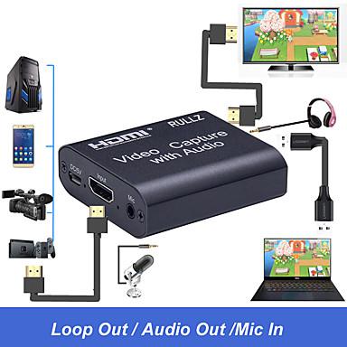 levne Kabely a adaptéry-4k hdmi karta pro digitalizaci videa 3,5 mm zvukový výstup mic vstup záznamník zařízení box hra vysílání živé vysílání streamování karta podpora usb2.0 usb 3.0 plug and play žádný ovladač není potřeba