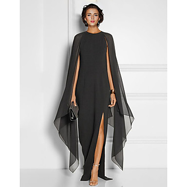 cheap Lace Dresses-Sheath / Column Elegant Black Wedding Guest Formal Evening Dress Jewel Neck Sleeveless Floor Length Chiffon with Draping Split Front 2020