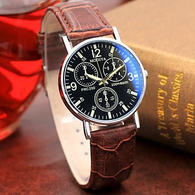 Недорогие Часы на кожаном ремешке-Муж. Нарядные часы Кварцевый Стильные На каждый день Альтиметр Аналоговый Красный + коричневый Белый Черный / Один год / Кожа