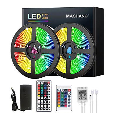 levne LED & Osvětlení-mashang 5m 10m 15m 20m led LED pásová světla rgb dc12v led světla flexibilní barevná změna smd 2835 s ir dálkovým ovladačem a adaptérem 100-240v pro domácí ložnice kuchyně tv zadní světla diy deco