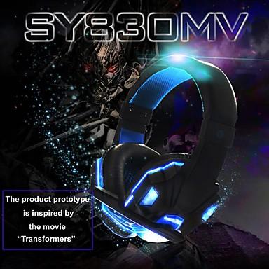 お買い得  ヘッドセット、ヘッドホン-soyto sy830mvゲーミングヘッドセットusbと3.5mmヘッドフォンマイクコンボケーブルledヘッドフォンeスポーツpcコンピューターps4 xboxゲーム