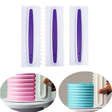 ieftine Ustensile & Gadget-uri de Copt-3 buc bucătărie pentru pieptănare decorare tort pieptene cremă mai fină decorare patiserie gătită pieptene fondante spatule instrumente de coacere