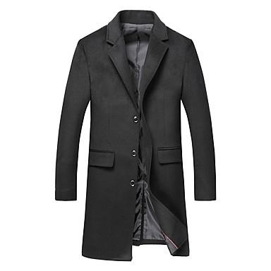Недорогие Мужская одежда-Муж. Пальто Длинная Однотонный Повседневные Классический Длинный рукав Черный / Верблюжий / Серый US32 / UK32 / EU40 / US34 / UK34 / EU42 / US36 / UK36 / EU44