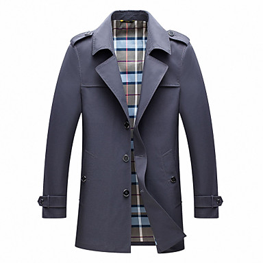 זול Men's Winter Coats-בגדי ריקוד גברים אַדֶרֶת ארוך אחיד יומי בסיסי שחור / כחול ים / אפור M / L / XL