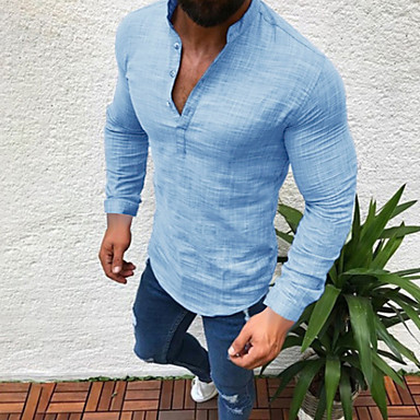 ieftine Muške košulje-Bărbați Purtare Zilnică Mărime Plus Size Cămașă Mată Manșon Lung Topuri In Rotund Alb Negru Gri