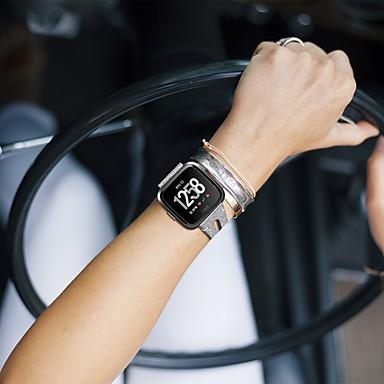 Недорогие Аксессуары для смарт-часов-Ремешок для часов для Fitbit Versa Lite / фитбит наоборот 2 Fitbit Кожаный ремешок Стеганная ПУ кожа Повязка на запястье