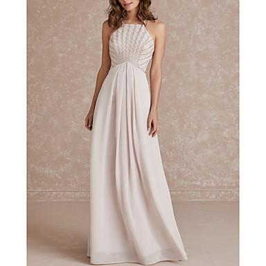 hesapli Nedime Elbiseleri-A-Şekilli Spagetti Askılı Yere Kadar Şifon Nedime Elbisesi ile Pileler