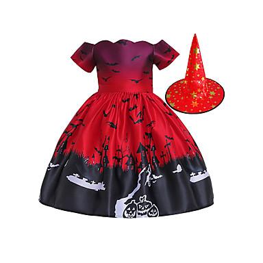ieftine Halloween és farsangi jelmezek-vrăjitoare Rochii Pălării / Căciuli Pentru copii Fete rochie de vacanță Halloween Halloween Festival / Sărbătoare Bumbac Poliester Roșu-aprins Uşor Costume de Carnaval / Rochie / Pălărie / Rochie