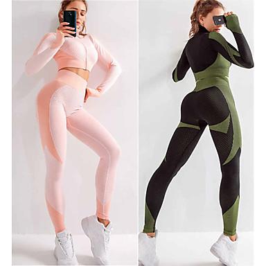 ieftine Accesorii Sport & Exterior-Pentru femei 2 bucăți Fără Cusături activewear Set Costume de antrenament Costum de yoga De Atletism Manșon Lung 2pcs Talie Înaltă Nailon Respirabil Uscare rapidă Απαλό Fitness Gimnastică antrenament