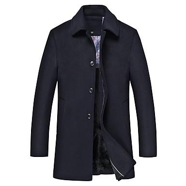 Недорогие Мужская одежда-Муж. Пальто Длинная Однотонный Повседневные Классический Длинный рукав Темно-серый / Темно синий US32 / UK32 / EU40 / US34 / UK34 / EU42 / US36 / UK36 / EU44