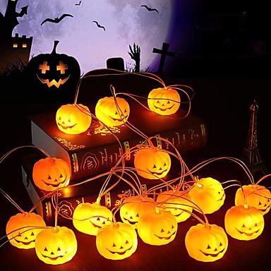 tanie Oświetlenie LED-Łańcuchy świetlne halloweenowe w kształcie dyni Łańcuchy świetlne led w kształcie dyni 1,5 m 4,9 stopy 10 diod Zasilanie bateryjne Halloween karnawałowe oświetlenie ogrodowe na przyjęcie świąteczne