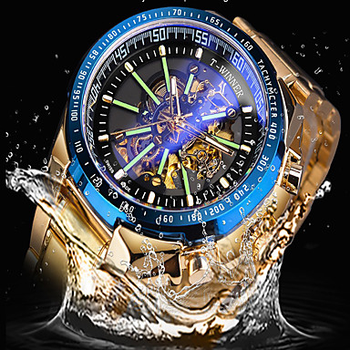 Недорогие Часы на металлическом ремешке-FORSINING Муж. Механические часы С автоподзаводом Старинный Стильные На каждый день С гравировкой Аналоговый Черный + Gloden Белый + небесно-голубой Золотой / Два года / Нержавеющая сталь / Два года