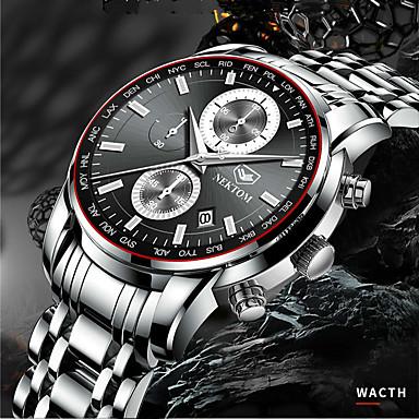 Недорогие Часы на металлическом ремешке-NEKTOM Муж. Спортивные часы Кварцевый Спортивные Стильные На каждый день Защита от влаги Аналого-цифровые Черный + Gloden Черный / желтый Белый + Gold / Нержавеющая сталь / Японский / Календарь