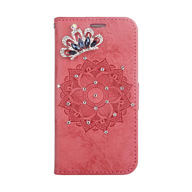 Недорогие Кейсы для iPhone-чехол для apple, iphone 7 8 7plus 8plus х держатель карты горный хрусталь магнитные чехлы для всего тела сплошной цвет цветок искусственная кожа тпу