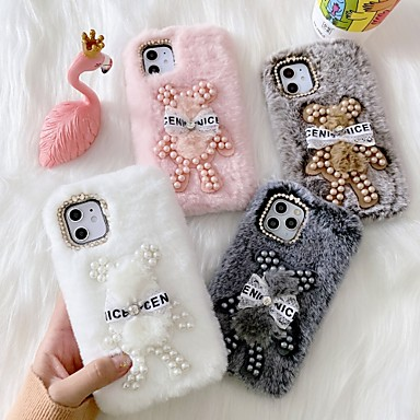 Недорогие Кейсы для iPhone-чехол для apple iphone 6 7 8 6plus 7plus 8plus xr xs xsmax x 11 11pro 11promax горный хрусталь шаблон медведь задняя крышка плюшевые тпу