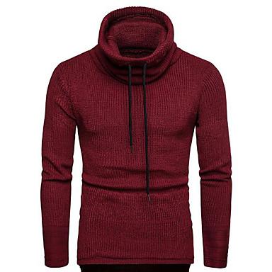 tanie Męskie swetry i swetry rozpinane-Męskie Solidne kolory Pulower Długi rękaw Swetry rozpinane Golf Jesień Czarny Wino Granatowy