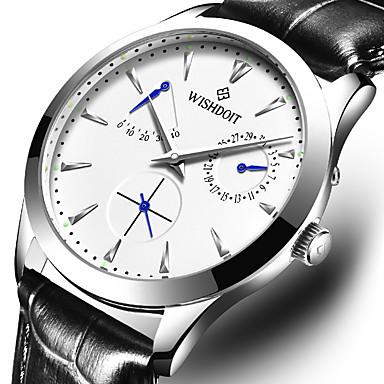 Недорогие Часы на кожаном ремешке-WISHDOIT Муж. Механические часы С автоподзаводом Современный Стильные На каждый день Защита от влаги Аналоговый Черный Коричневый / Нержавеющая сталь / Кожа / Фосфоресцирующий