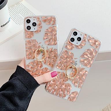 Недорогие Кейсы для iPhone-Кейс для Назначение Apple iPhone 11 / iPhone 11 Pro / iPhone 11 Pro Max Кольца-держатели / Полупрозрачный Кейс на заднюю панель Цветы ТПУ