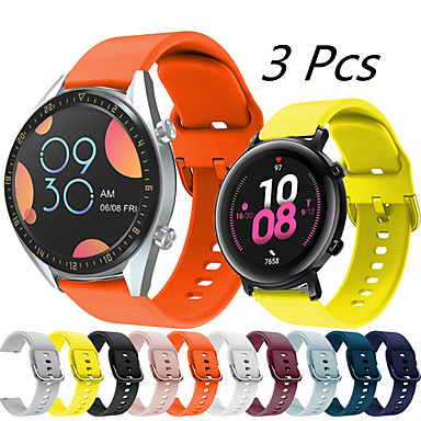 abordables Correas para Huawei-3 piezas de correa de reloj de silicona deportiva para huawei watch gt 2e / honor magic watch 2 46mm 42mm / gt2 46mm / gt2 42mm / gt active / watch 2 / watch 2 pro pulsera reemplazable correa de