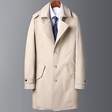 Недорогие Мужская одежда-Муж. Пальто Длинная Однотонный Повседневные Классический Длинный рукав Черный / Хаки / Темно синий US32 / UK32 / EU40 / US34 / UK34 / EU42 / US36 / UK36 / EU44