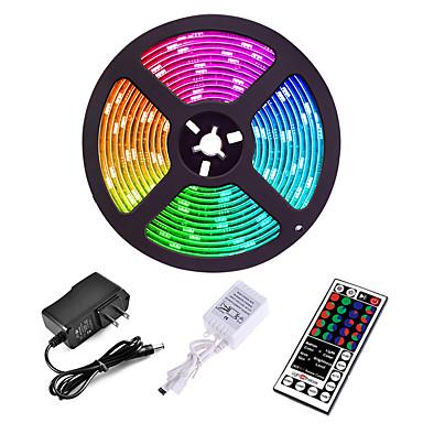 tanie Oświetlenie LED-5 m Zestawy oświetlenia Diody LED 3528 SMD 8mm RGB Pilot zdalnego sterowania Nadaje się do krojenia Przygaszanie 12 V / Możliwość połączenia / Samoprzylepne / Zmieniające się kolory / IP44