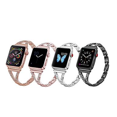 Недорогие Аксессуары для смарт-часов-Ремешок с бриллиантами для ремешка для часов Apple Watch 44 мм 42 мм 40 мм 38 мм для серии iwatch 5 4 3 2 1 ремешок из нержавеющей стали