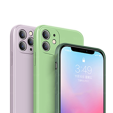 Недорогие Кейсы для iPhone-iphone11pro max новый квадратный жидкий силиконовый чехол для телефона xs max встроенный удобный роскошный плюшевый противоударный противоскользящий чехол 6 7 8plus se 2020 защитный чехол