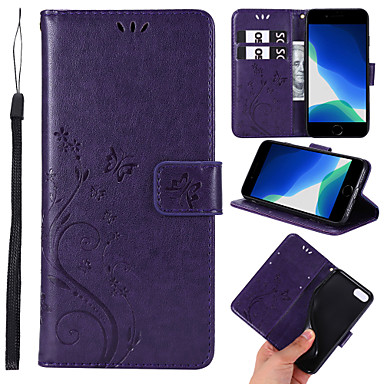 cheap iPhone Cases-Case For Apple iPhone 6 6s 7 8 6plus 6splus 7plus 8plus X XR XS XSMax SE(2020) iPhone 11 11Pro 11ProMax Card Holder Shockproof Embossed Full Body Cases Solid Colored Animal Flower PU Leather TPU