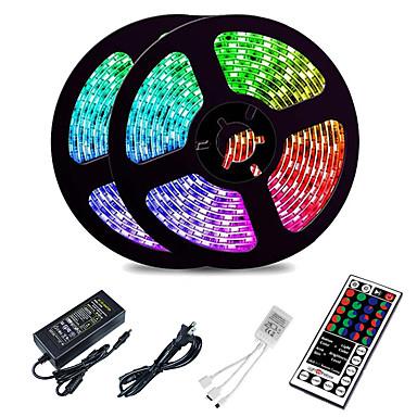 رخيصةأون أضواء شريط LED-Loende 10M LED قطاع أضواء RGB أضواء Tiktok 2835 SMD 600 LED سلسلة الشريط 44 مفتاح الأشعة تحت الحمراء للتحكم عن بعد LED الشريط الشريط تحت خزانة خزانة الديكور