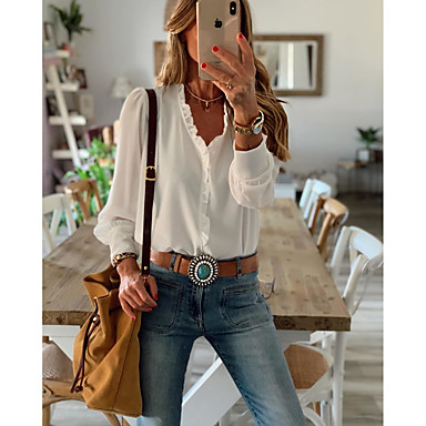 cheap Blouses & Shirts-Women's Blouse Shirt Solid Colored Long Sleeve Ruffle V Neck Tops Casual Basic Top White