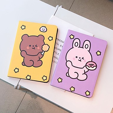 cheap iPad  Cases / Covers-Case For Apple iPad  Mini 3 2 1 iPad Mini 4 iPad Mini 5 with Stand Flip Full Body Cases PU Leather TPU Protective Stand Cover Pattern bear cute stars lovely