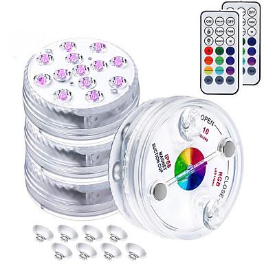 رخيصةأون LED وإضاءة-4 قطعة 16 لونًا مصابيح LED غاطسة مع المغناطيس وشفط كوب بركة نافورة تحت الماء LED ضوء الليل لمزهرية حوض السمك